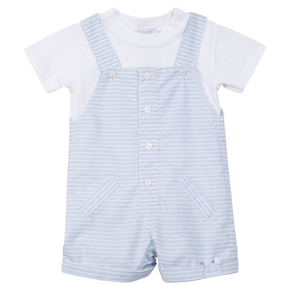 A collection of knitted baby boy dungarees in subtle pastel shades and delicate colours. Featuring adorable woven styles with a wooden button fastening that are lightweight and flexible. Plus stripy romper dungarees with crossover braces, perfect for the summer casual and occasion wear wardrobe.