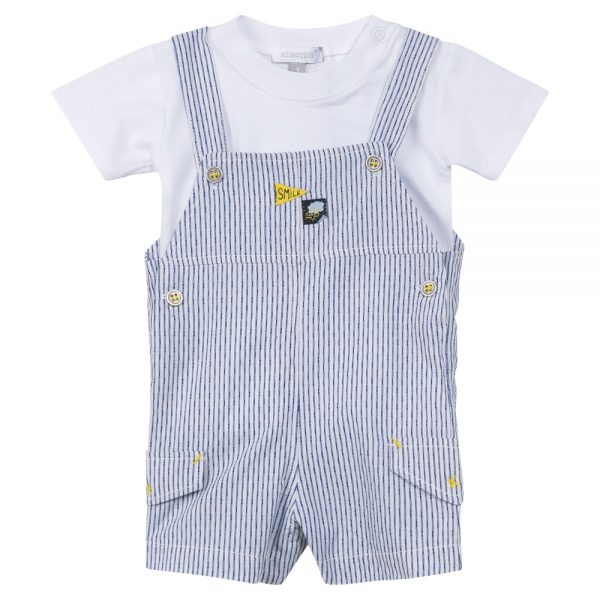 Baby Boys Navy & White Dungaree Set