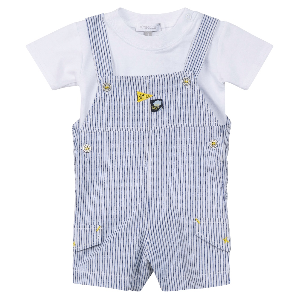 3e3a80fc4 Baby Boys Navy & White Dungaree Set | Bumpalumpa.com