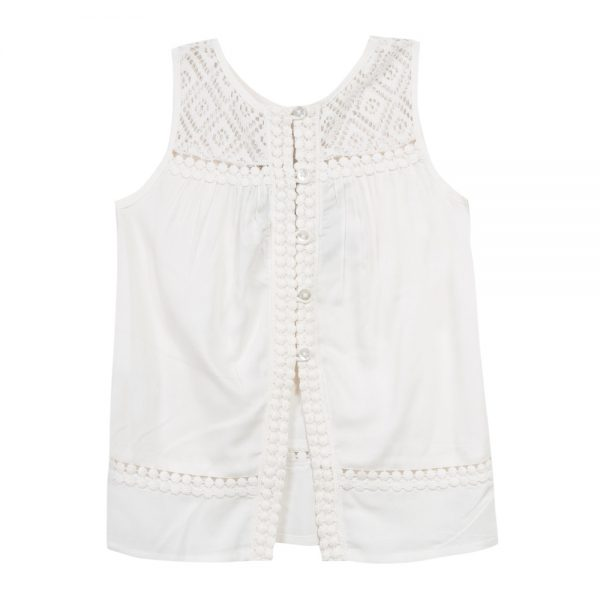 Back image of 3 Pommes Girls Ivory Sleeveless Summer Top