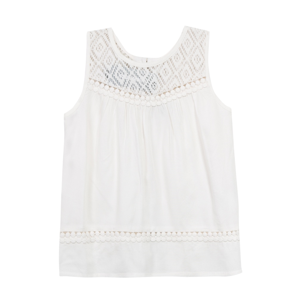 86252c8f605 3 Pommes Girls Ivory Sleeveless Summer Top
