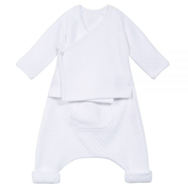 Unisex Baby White Top & Pants Set
