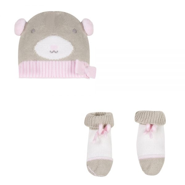 3 Pommes Baby Girls Hat & Bootees Set