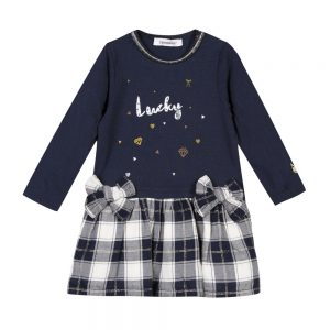 3 Pommes Baby Girls Navy Dress & Matching Tights