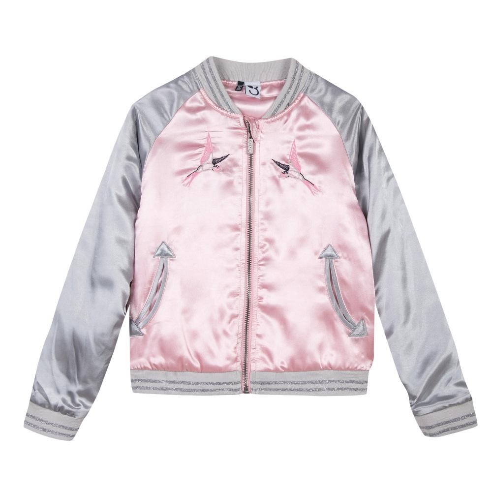 3 Pommes Girls Pink Bomber Jacket
