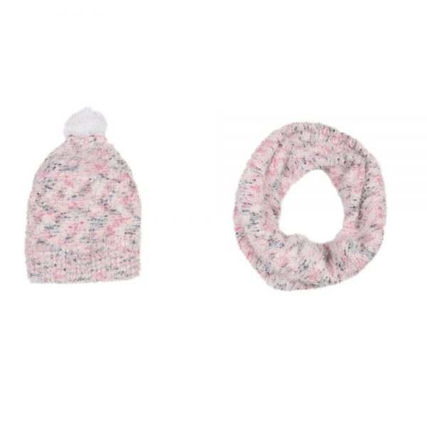 3 Pommes Girls Pink Hat Scarf Set