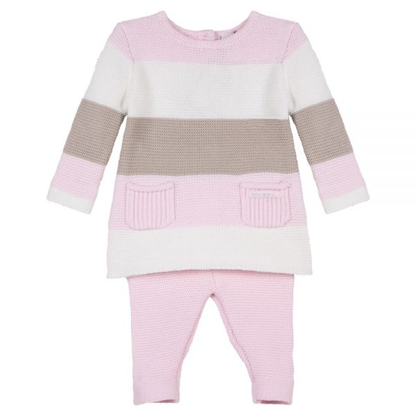 3 Pommes Baby Girls Pink Knitted Outfit