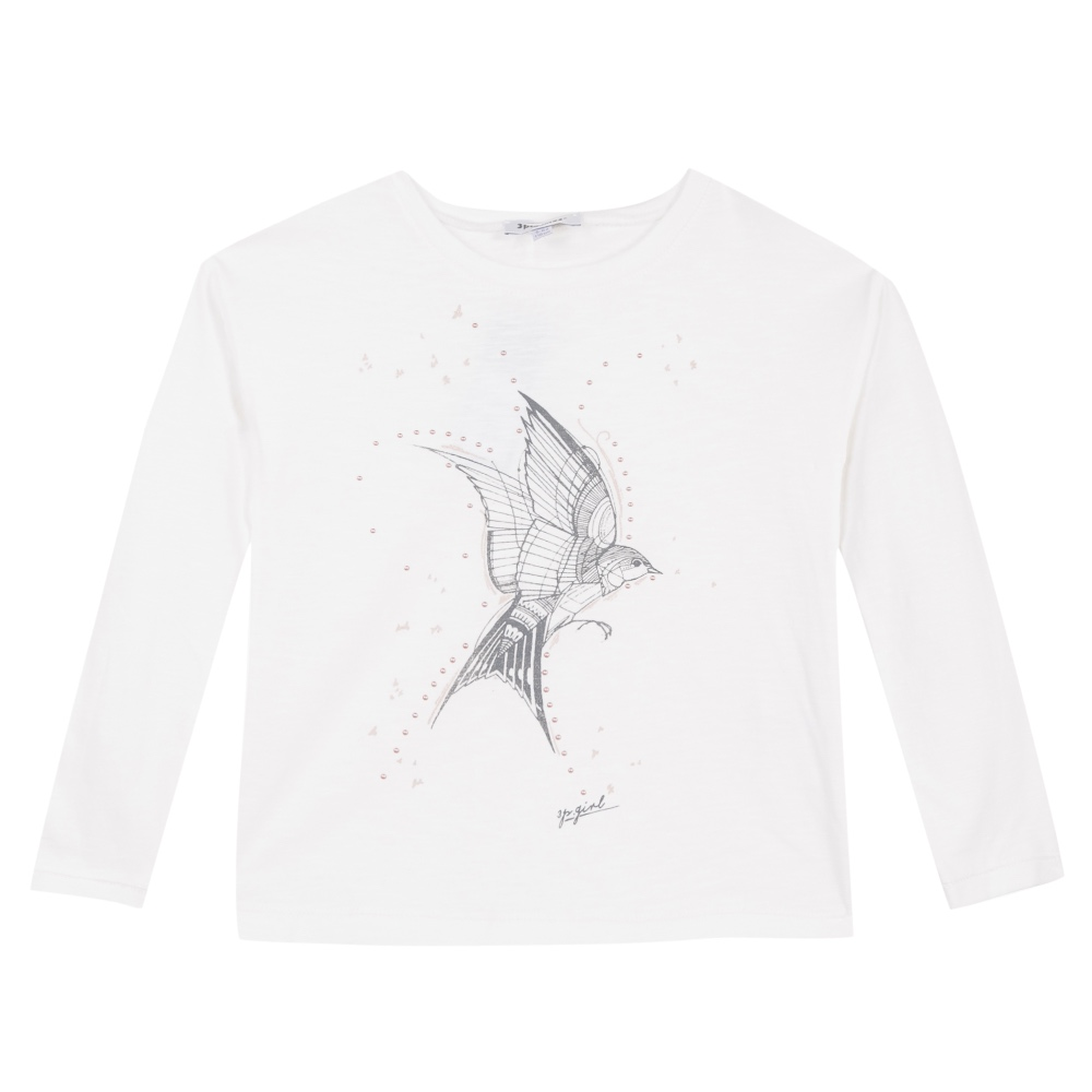 3 Pommes Girls Ivory Long Sleeve T-shirt