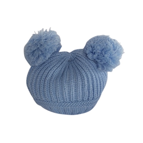 Baby Blue Double Pom Pom Knitted Hat