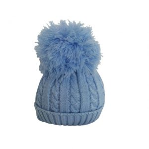 Baby Boys Blue Pom Pom Hat