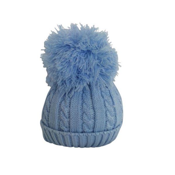 Baby Boys Blue Pom Pom Hat