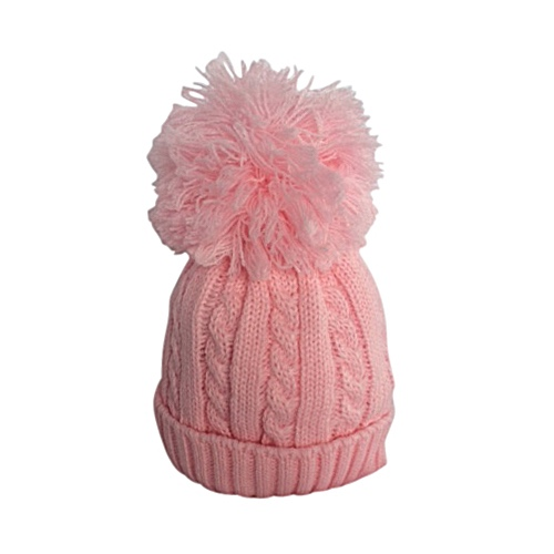 Baby Girls Cable Knit Pink Pom Pom Hat