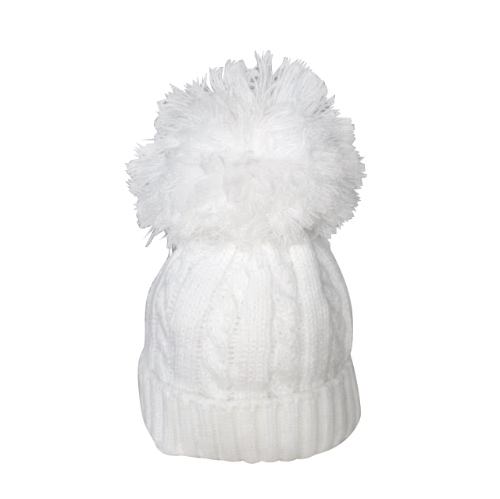 White Cable Knit Hat with Large Pom Pom