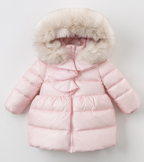 Girls Pink Padded Coat with Fur Hood