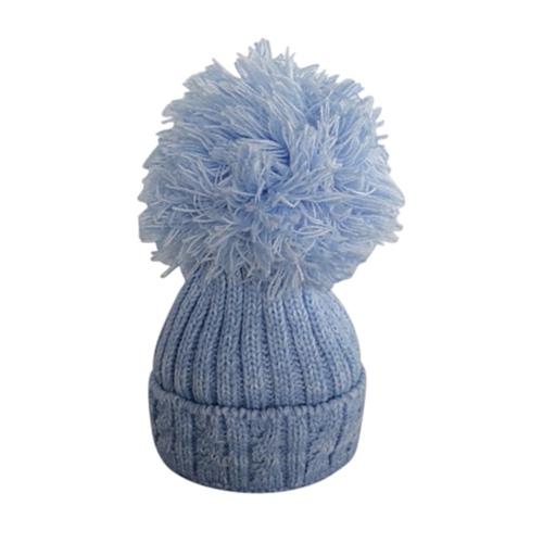 Baby Blue Pom Pom Hat