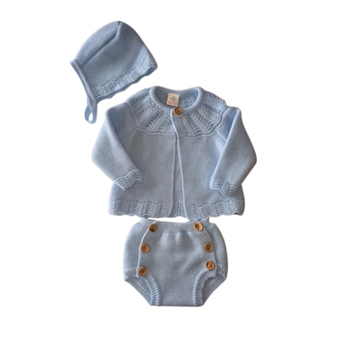 Baby Boys Blue Knitted Outfit