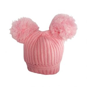Baby Girls Pink Double Pom Pom Hat