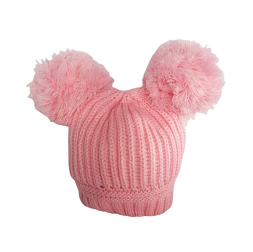 e36ecafe6 Baby Girls Pink Double Pom Pom Hat