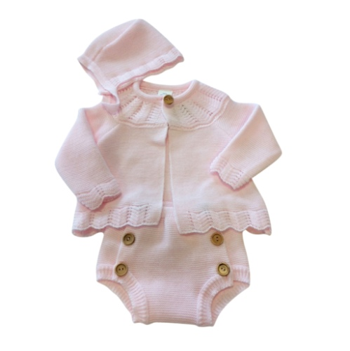 Baby Girls Pink Knitted Outfit
