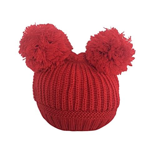 Baby Red Double Pom Pom Hat  bbfaeffd139