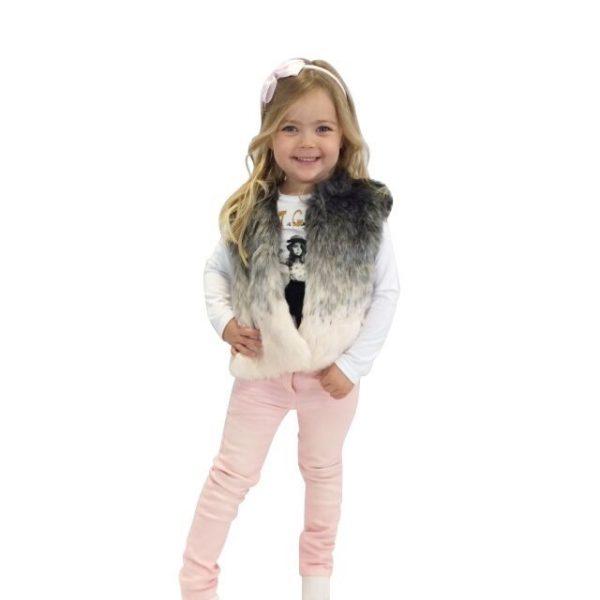 3 Pommes Girls Pink Fur Waistcoat