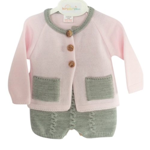 Baby Girls Pink Knitted Dungaree Outfit