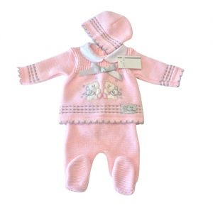 Baby Girls Pink & Grey Knitted Set