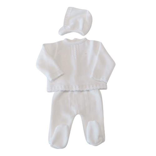 Unisex White Knitted Baby Set