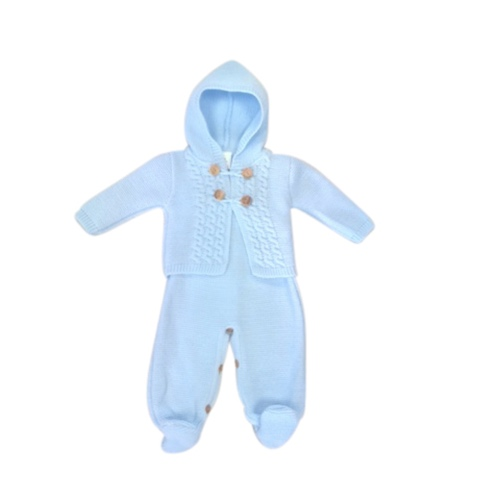 Baby Boys Blue knitted Dungaree Set