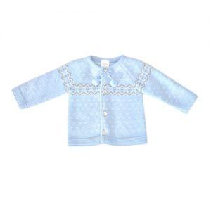 Baby Boys Blue Pom Pom Cardigan