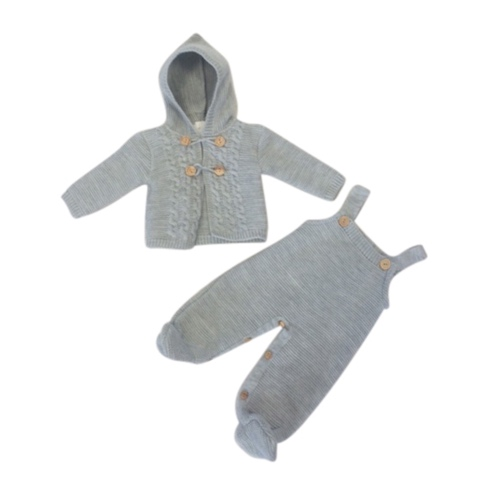 Baby Boys Grey Knitted Dungaree Set