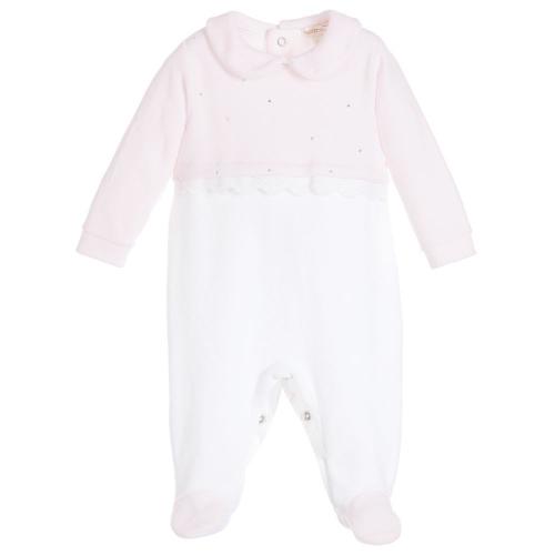 Mintini Baby Girls pink Velour Babygrow