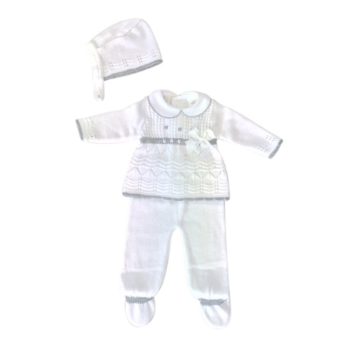 Baby Girls White & Grey Outfit