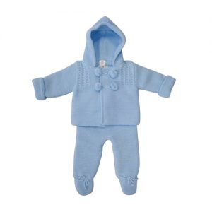 Baby Boys Blue Pom Pom Jacket & Trouser Set