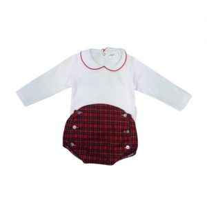 Baby White Blouse & Tartan Bloomer Set