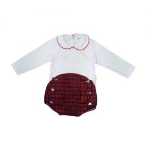 Baby White Blouse & Tartan Bloomer Set