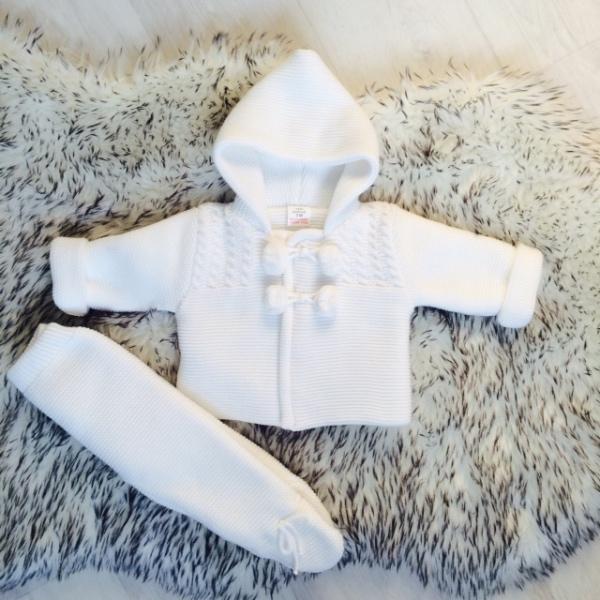 Baby Unisex White Knitted Jacket & Trouser Set