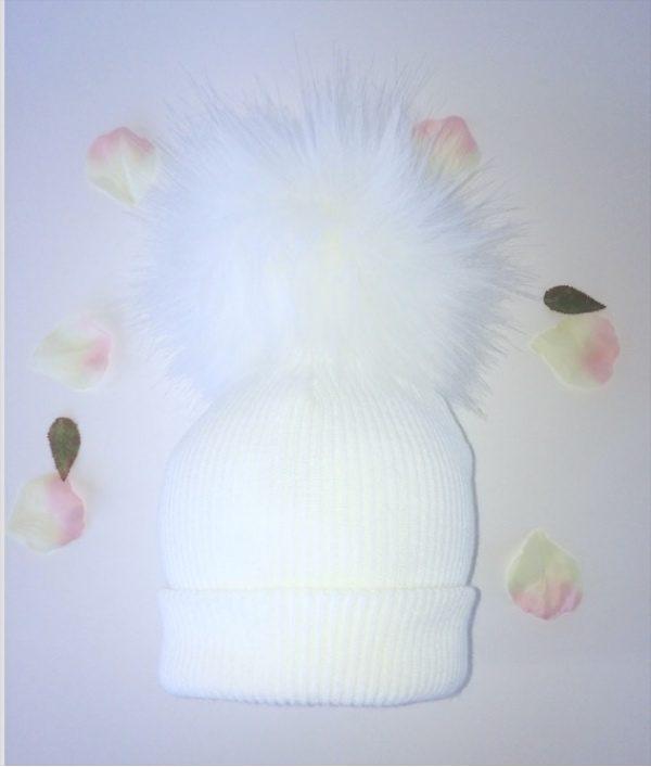 Baby White Fur Pom Pom Hat
