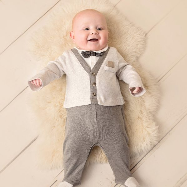 Mintini Baby Boys Grey Babygrow Suit