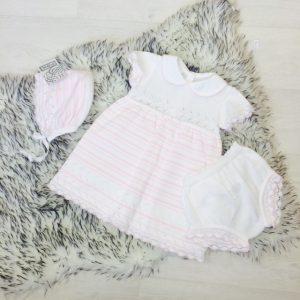 Pex Baby Girls White Knitted Dress Set