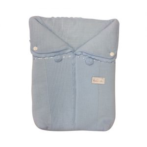 Baby Boys Blue Knitted Pram Nest