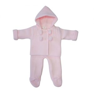 Baby Girls Pink Knitted Cardigan & Trouser Set