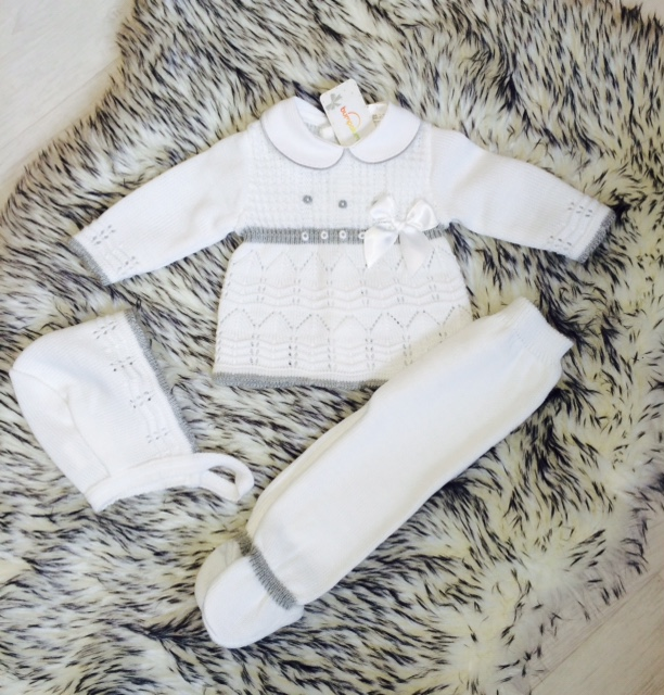 Baby Girls White & Grey Knitted Outfit