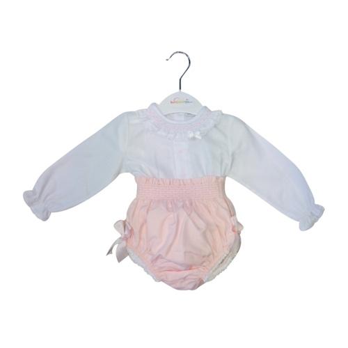 Baby Girls White Blouse & Pink Bloomer Set