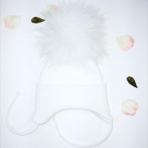 Baby White Knitted Hat with Fur Pom Pom