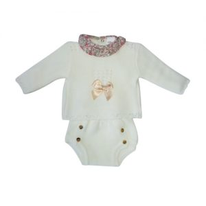 Spanish Baby Girls Ivory Knitted Sweater & Shorts Set