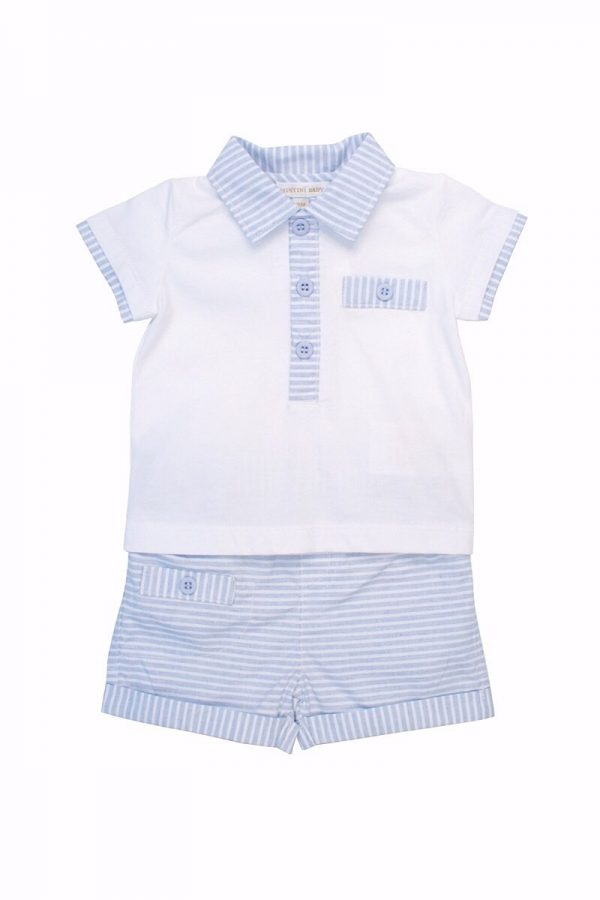 Mintini Baby Boys Blue Shorts Set