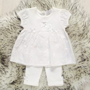 Baby Girls White Dress & Leggings