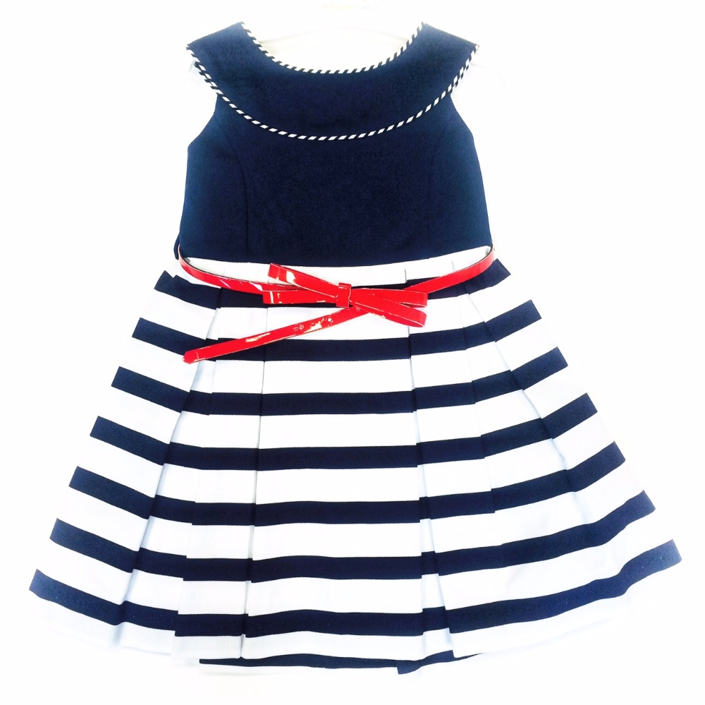 3c3b0e6cf2f77 Girls Navy & White Dress