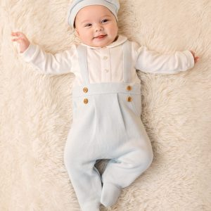 Mintini Baby Boys Blue Babygrow & Hat Set